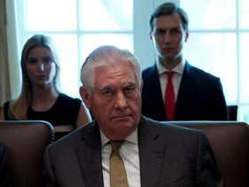 Rex Tillerson listens as President Donald Trump holds a cabinet meeting at the White House in Washington, U.S., October 16, 2017.