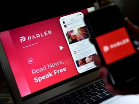 "Logo of Parler, the social media application removed from the Apple and Google stores for allowing ""threats of violence"" related to the Jan 6th deadly attack by Trump supporters on the U.S. Capitol"