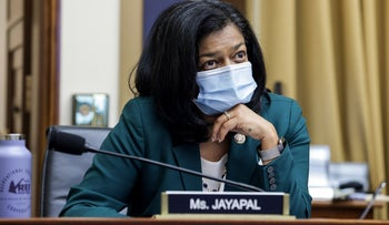 """Congresswoman Pramila Jayapal, (D-WA), looks on during a hearing of the House Judiciary Subcommittee on Antitrust, Commercial and Administrative Law on """"Online Platforms and Market Power"""", in the Rayburn House office Building on Capitol Hill, in Washington, U.S., July 29, 2020"""