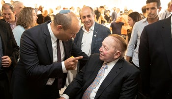 Israeli far-right politician Naftali Bennett and megadonor Sheldon Adelson during the opening of the year at the Ariel medical faculty in the eponymous West Bank settlement, October 27, 2019.