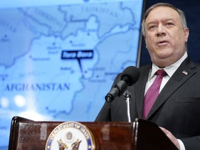 Secretary of State Mike Pompeo speaks at the National Press Club in Washington, DC, U.S., January 12, 2021.