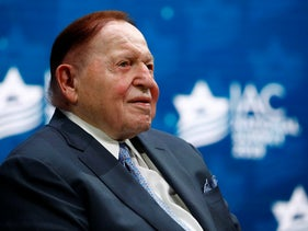 Las Vegas Sands Corporation Chief Executive Sheldon Adelson sits onstage before President Donald Trump speaks at the Israeli American Council National Summit in Hollywood, December 2019.