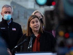 Rep. Elissa Slotkin speaks at the passage of the bipartisan emergency COVID-19 relief bill in a press conference outside the US Capitol on December 21, 2020 in Washington, DC.