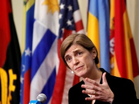 Then-United States Ambassador to the United Nations Samantha Power addresses media at the United Nations in Manhattan, New York City, December 19, 2016.