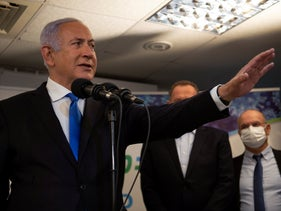 Prime Minister Benjamin Netanyahu speaks at an HMO clinic in Nazareth, January 13, 2021.