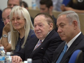 From left to right: Miriam and Sheldon Adelson with Benjamin Netanyahu at the Interdisciplinary Center in Herzliya, December 26, 2016.