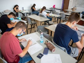 High school students prepare for their summer matriculation exams in math, in Jerusalem, June 29, 2020.