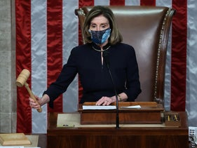 Speaker of the House Nancy Pelosi (D-CA) raps her gavel after the House voted to impeach U.S. President Donald Trump for the second time in a little over a year, Washington D.C., January 13, 2021.