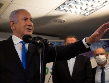 Netanyahu at a highly-contested visit in Nazareth, January 13, 2021.