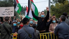 Locals protest Netanyahu's visit to Nazareth in a bid to woo Arab voters, January 13, 2021.
