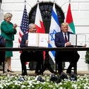 Bahrain's Foreign Minister Abdullatif Al Zayani, Prime Minister Benjamin Netanyahu, U.S. President Donald Trump and UAE Foreign Minister Abdullah bin Zayed participate in the signing of the Abraham Accords, at the White House in Washington, U.S., September 15, 2020.