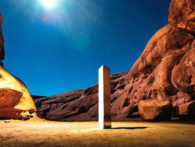 AThis Nov. 27, 2020 photo by Terrance Siemon shows a monolith that was placed in a red-rock desert in an undisclosed location in San Juan County southeastern Utah.