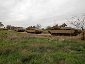 Israeli tanks in the Golan Heights.