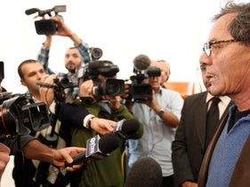 """Mohammad Bakri, the maker of the documentary """"Jenin, Jenin,"""" facing reporters at the Supreme Court in Jerusalem, March 7, 2011."""