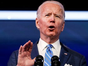 U.S. President-elect Joe Biden delivers remarks during a televised speech on the current economic and health crises at The Queen Theatre in Wilmington, Delaware, U.S., January 14, 2021