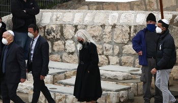 Wife of Sheldon Adelson, Israeli-born Dr. Miriam Adelson at Jerusalem's Mount of Olives burial, January 15, 2021.