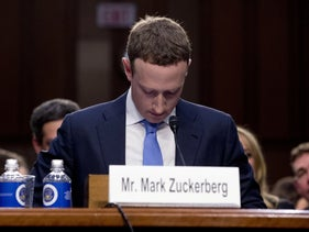 Mark Zuckerberg speaking before a joint hearing of the Senate commerce and judiciary committees on Capitol Hill, April 10, 2018.