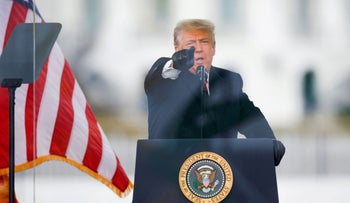U.S. President Donald Trump speaking outside the White House before supporters stormed the Capitol, January 6, 2021.