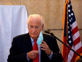 U.S. Ambassador David Friedman at an event at the embassy grounds in Jerusalem, December 21, 2020.
