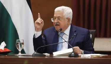 Palestinian President Mahmoud Abbas heads a leadership meeting at his headquarters in the West Bank city of Ramallah, May 19, 2020.