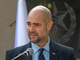 Amir Ohana speaks at a ceremony at Northern Police District headquarters, January 4, 2021.