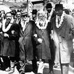 A voters rights march in Georgia in 1965, featuring Dr. Martin Luther King Jr., Ralph Bunche, Rabbi Abraham Joshua Heschel (second from right) and Rev. Fred Shuttlesworth.