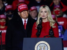 Ivanka Trump speaks at a campaign event while her father, President DonaldTrump, watches in Kenosha, Wisconsin. Nov. 2, 2020