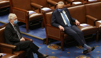 Senate Majority Leader Mitch McConnell and Senate Democratic Leader Chuck Schumer during a joint session of Congress after they reconvened to certify the presidential election, January 6, 2021.