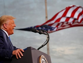 U.S. President Donald Trump speaks during a campaign rally at Cecil Airport in Jacksonville, Florida. September 24, 2020.