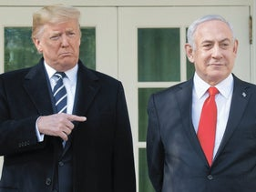 U.S. President Donald Trump and Prime Minister Benjamin Netanyahu on the West Wing Colonnade at the White House in Washington, D.C., January 27, 2020.