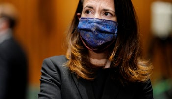 President-elect Joe Biden's pick for national intelligence director Avril Haines arrives for a confirmation hearing before the Senate intelligence committee, Washington, January 19, 2021.