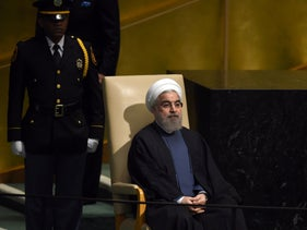 Hassan Rouhani, President of Iran, waits to address the 70th Session of the UN General Assembly September 28, 2015  in New York.