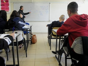 A Hebrew class in the northern village of Sallama, February 2020