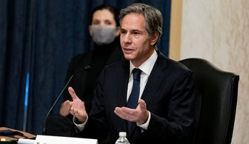 Antony Blinken speaks during his confirmation hearing to be Secretary of State before the U.S. Senate Foreign Relations Committee, January 19, 2021.