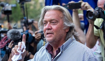 Steve Bannon speaks with reporters in New York after pleading not guilty to charges that he ripped off donors to an online fundraising scheme to build a southern border wall, August 20, 2020.
