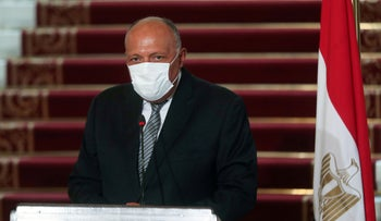 Egyptian Foreign Minister Sameh Shoukry attends a news conference after the meeting with Saudi Foreign Minister Prince Faisal bin Farhan al-Saud, Cairo, July 27, 2020.
