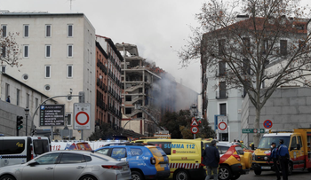 Smoke rises from the site of an explosion in Madrid, Spain January 20, 2021.