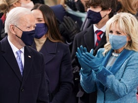 U.S. President-elect Joe Biden arrives for his inauguration as the 46th President of the United States on the West Front of the U.S. Capitol in Washington, January 20, 2021.