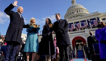 Joe Biden is sworn in as the 46th president of the United States by Chief Justice John Roberts as Jill Biden holds the Bible at the U.S. Capitol in Washington, January 20, 2021.