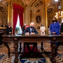 President Joe Biden signs three documents including an inauguration declaration, cabinet nominations and sub-cabinet nominations in the President's Room at the US Capitol, January 20, 2021.