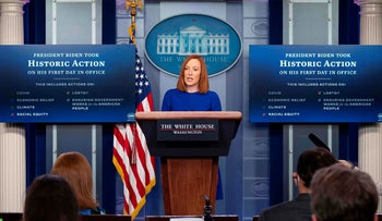 White House Press Secretary Jen Psaki speaks as she holds the first press briefing of Joe Biden's presidency, at the White House in Washington, DC., January 20, 2021.