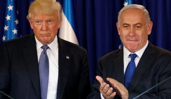 President Donald Trump stands with Israeli Prime Minister Benjamin Netanyahu in Jerusalem. May 22, 2017