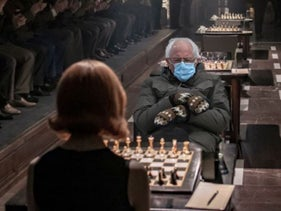 """One of the memes inspired by Senator Sander's attire at Biden inauguration. Here is cropped into hit TV show the """"The Queens Gambit"""""""