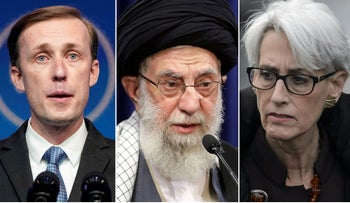U.S. National Security Adviser Jake Sullivan, left, Ayatollah Ali Khamenei and Deputy Secretary of State Wendy Sherman.