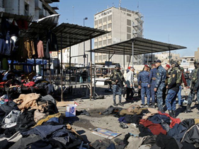 The site of a twin suicide bombing attack in a central market is seen in Baghdad, Iraq, January 21, 2021.