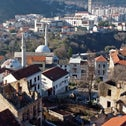 Aerial view of buildings, mosques and churches destroyed during the 1992-1995 war in the old part of Mostar, Bosnia and Herzegovina December 20, 2020.