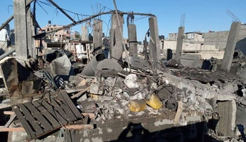A house reduced to rubble by an explosion in Beit Hanoun in the northern Gaza Strip, January 23, 2021.