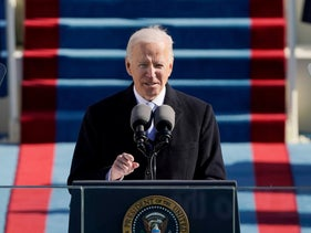 Joe Biden delivers a speech after being sworn in as the 46th president of the United States in Washington DC on January 20, 2021.
