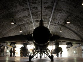 An Israeli air force F-16I fighter plane in a hangar at the Ramon Air Force Base, in the southern Israeli Negev desert, November 19, 2008.