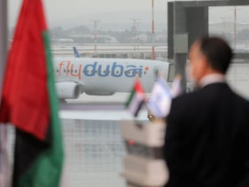 The first official flight from the United Arab Emirates lands in Israel's Ben-Gurion International Airport, November 26, 2020.